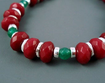 ON SALE Ruby Gemstone and Colombian Emeralds, Red and Green Bracelet with Sterling Silver, Was 89.00