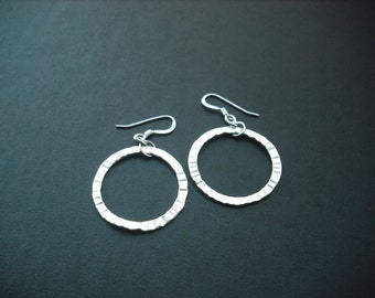 matte white gold plated crinkled hoop earrings - sterling silver ear wires