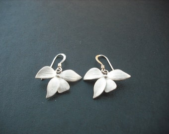matte white gold plated wild orchid flower earrings - sterling silver ear wires
