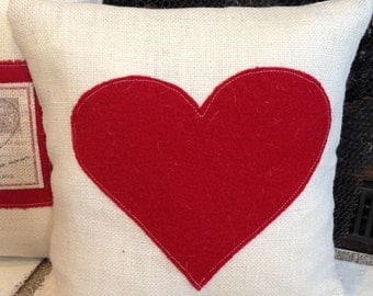 Red heart pillow, Valentines day decor, burlap pillow, Ivory burlap, red heart, throw pillow, accent pillow, shabby chic style, home decor