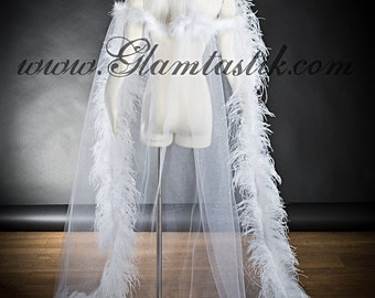 Custom listing One size White Cape High Ostrich feather collared with white trim tulle and lace Cape Perfect for Halloween