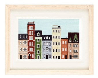 BOSTON, MASSACHUSETTS - 5 x 7 Colorful Illustration Art Print, New England, Brownstones, Red, Green, Blue, Wall Decor