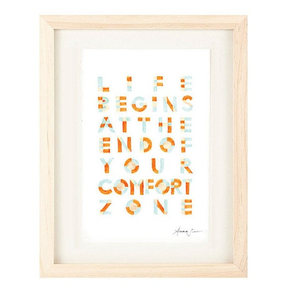Life Begins At the End of Your Comfort Zone Handwritten Typography Inspirational Quote Oversized Poster, orange, blue, cream
