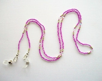 Eyeglass Lanyard Crystal Orchid Purple Lined Beaded Necklace with Clear AB Small Crystals