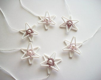 Star Ornaments White Beaded Tree or Wall Hangings with Faux Pearl Center Holiday Decoration 6 pcs