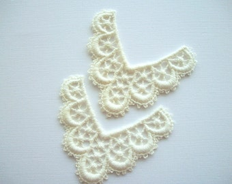 Venice Lace Ivory Cotton Vintage Applique for Couture Altered Art Costume or Jewelry Design 2 pcs