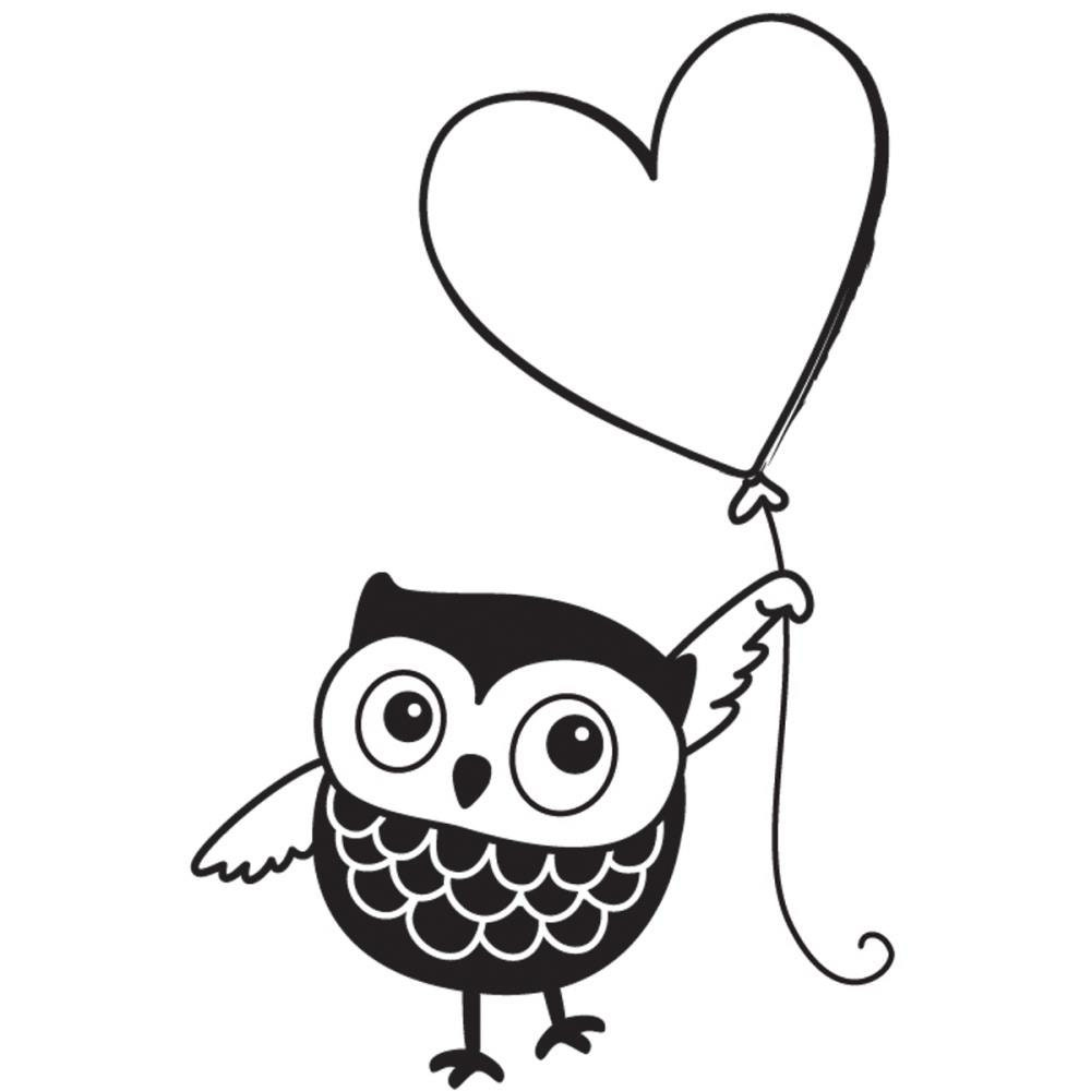 owl u0026 heart balloon rubber stamp ps0288a