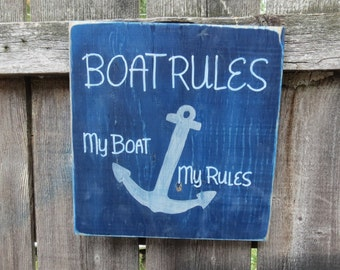 Hand Painted Rustic Wood Marine Nautical Boat Rules... My Boat My Rules Anchor Fun Cottage Decor