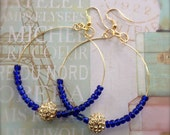 Blue Hoop Earrings Boho Bling Gold Rhinestone Pave Bead Earrings