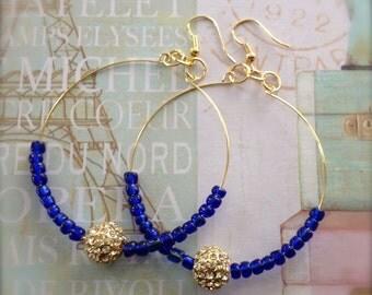 Blue Hoop Earrings Boho Bling Gold Rhinestone Pave Bead Earrings Spring Sale