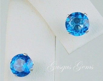 Ice Blue Topaz Sterling Silver Stud Earrings 6mm 2ctw