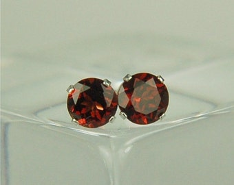 Garnet Stud Earrings Sterling Silver 6mm Round 2ctw Natural Untreated