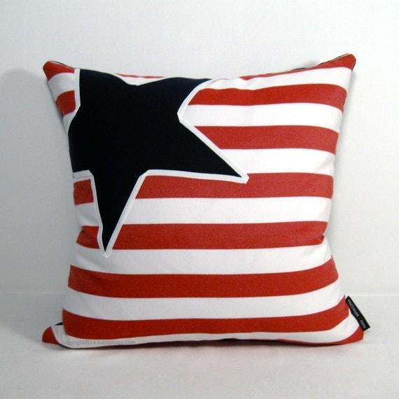 Items similar to Nautical Pillow Cover, Outdoor Coastal Decor, Red White Blue, Stars & Stripes ...