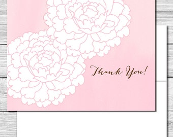 Thank you Notes--Soft Pink Peony Flowers--504S