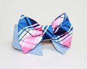 Shirt and bow tie dog collar- plaid bow tie- plaid pet tie- wedding dog collar- dressy dog collar