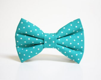 Dog Bow Tie- Teal Polka Dot Bow Tie- More options available- dog collar accessory
