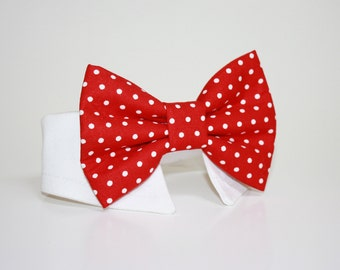 Dog Bow Tie- Shirt and Bow Tie Collar-  Wedding Dog Tie- Red Polka Dot
