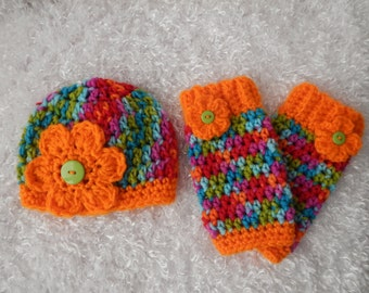 Newborn Girls Beanie And Leg Warmer set - Photographer's Set - Crocheted