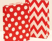 "Paper Snack Bags, Red Chevron & Polka Dot ""STAND UP"" Favor Treat Bags, Party Favor Treat Bags, Weddings, BIrthdays, Lunch Bag, Christmas"