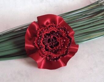Red Tatted Flower Hair Clip / Brooch - Red Hair Clip - Beaded Flower Brooch- Rosetta