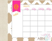 2015 Calendar - Monthly Desk Calendar Pad - IKAT Collection - fill in your own dates - 53 Sheets