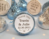 Thank You Wedding Personalized Round Candy Stickers Labels Favors - Set of 192 Stickers, 3/4 inch Custom Circle Stickers