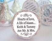 "Mr. and Mrs. Kisses Stickers Personalized Round Candy Wedding Labels Favors - Set of 192 Stickers, 3/4"" Custom Circle Stickers"