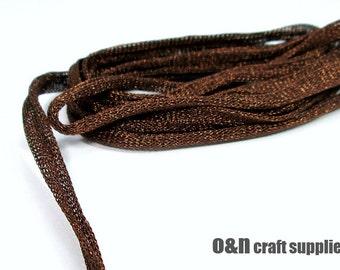 Brown wire mesh ribbon, metallic tubular ribbon, 3 meters