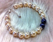 Something Blue n Ivory Cream Swarovski Pearl Diamond Rhinestone Rondelles Vintage Classic Bracelet Bangle Sterling Silver 27 Cols Bridesmaid