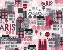 Hello Paris Fabric by Robert Kaufman Pink Eiffel Tower Notre Dame French Streets France on Pink