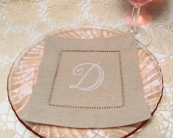 Oatmeal Linen Cocktail Napkins, Choose Your Own Monogram:  Cottage Roses or Elegant or Modern,  Set of 10