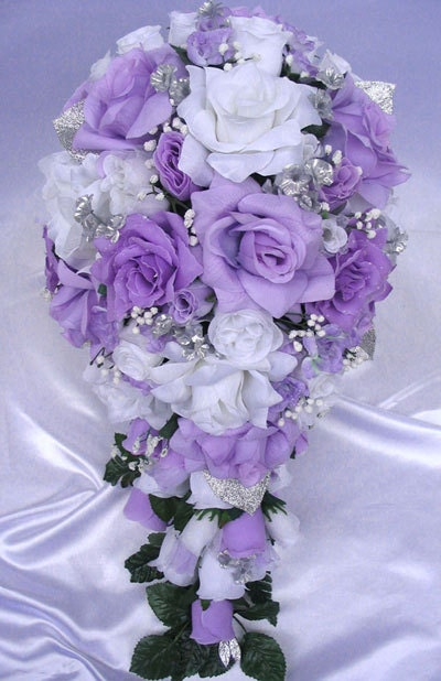 Lavender Flower Wedding Decorations Bouquet Bridal Silk Flowers Silver White