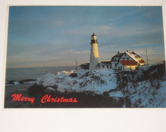 Used Picture Postcard Portland Head Light Christmas Lighthouse Post Card