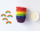Rainbow Cupcake Decorating Kit - for 24 Cupcakes - Sugar Decorations, Sprinkles, Cupcake Liners
