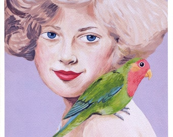 Fine art print -- Lady and Parrot