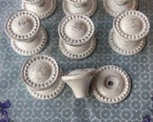 Drawer Pulls Knobs Beaded Antique Pewter  Backplates White Shabby Distressed Set of 8