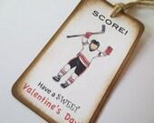 Hockey Valentine Card Tag Favor