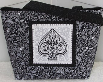 Ace of Spades Large Tote Bag Bandanna Skulls Purse Ready to Ship