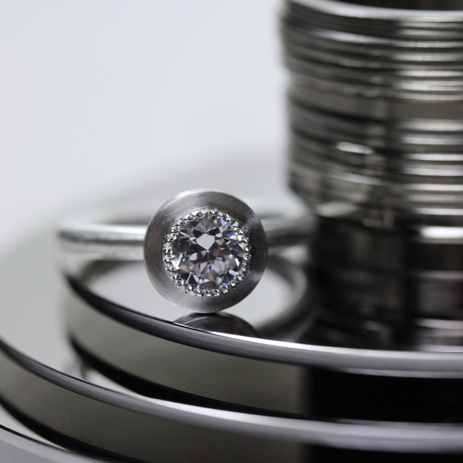 modern simple engagement ring silver cz geeky techie computer