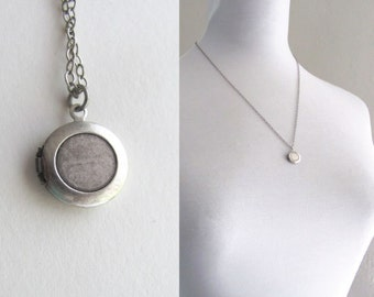 Small sterling silver round vintage locket, oxidized tiny silver locket on delicate chain