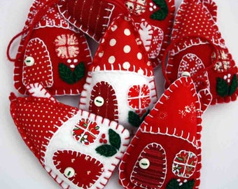 Felt Christmas ornaments, Red and white patchwork houses, Handmade felt ornaments, Scandinavian ornaments, Holiday decorations, Felt houses