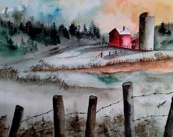 Original Watercolor Painting- Maine Landscape Painting