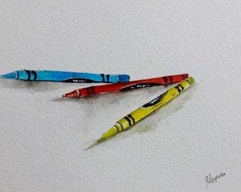 "Original Watercolor Painting- ""Kid's Crayons"" childrens art"