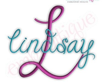 Lindsay Monogram Font Set - Large- - Machine Embroidery Font Alphabet Letters  - Instant Email Delivery Download Machine embroidery design