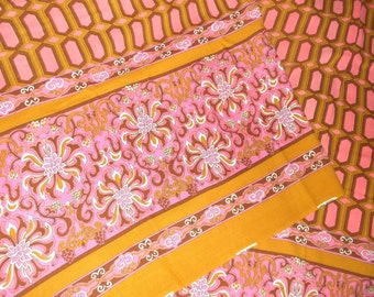 Pink & Gold Boho Border Fabric • approx. 3 1/4 yards X 43 inches • Shirley Fabrics
