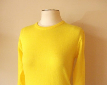 Electric Yellow Acrylic 60s Sweater, Size Small