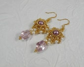 Woven Dangle Earrings Swarovski Crystal in Light Mauve and Cream Pearls