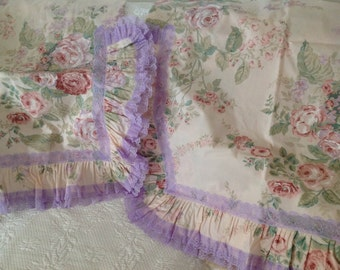 Extra Large Euro Pillow Shams  ~ Floral Lavender Lace Pillow Covers ~ Handmade Linens ~ Romantic Homes ~ Floral Vintage Bedding