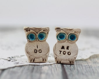 Wedding cake topper Owls Love birds  I do Me too
