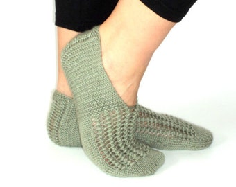 Christmas Gifts, Handknitted Slippers, Wool Slippers, Olive Green, Slippers, Autumn Gift, House Slippers